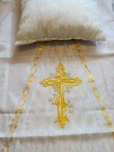 подушка покрывапло в гроб шелк с вышитым крестом